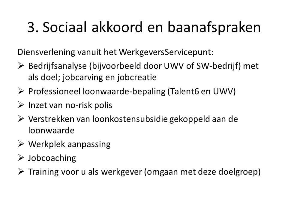 3. Sociaal akkoord en baanafspraken Diensverlening vanuit het WerkgeversServicepunt:  Bedrijfsanalyse (bijvoorbeeld door UWV of SW-bedrijf) met als d