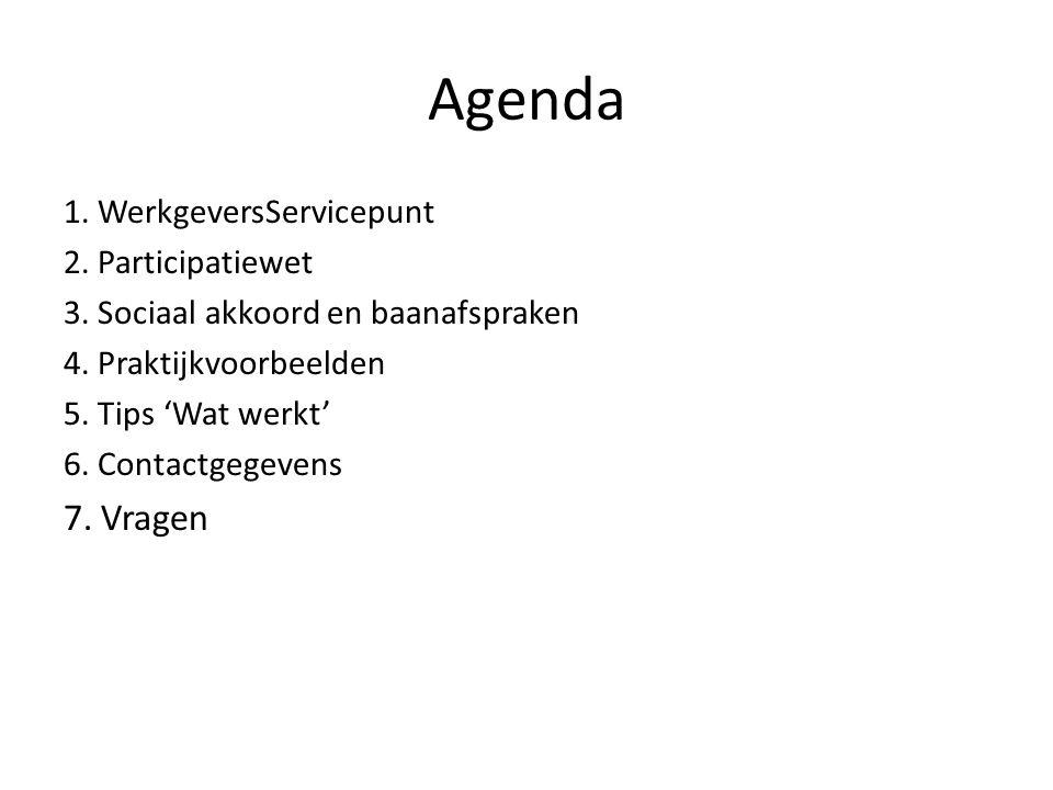 Agenda 1. WerkgeversServicepunt 2. Participatiewet 3. Sociaal akkoord en baanafspraken 4. Praktijkvoorbeelden 5. Tips 'Wat werkt' 6. Contactgegevens 7