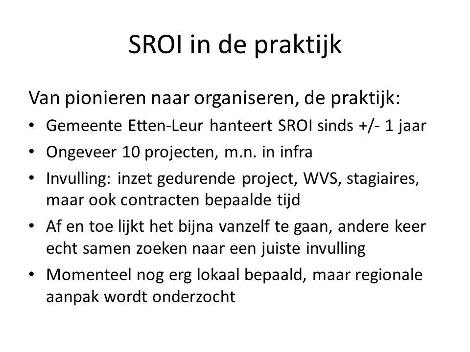 SROI in de praktijk Van pionieren naar organiseren, de praktijk: Gemeente Etten-Leur hanteert SROI sinds +/- 1 jaar Ongeveer 10 projecten, m.n. in inf
