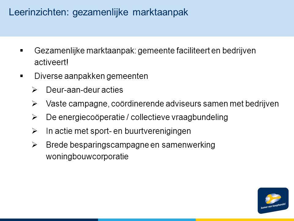  Gezamenlijke marktaanpak: gemeente faciliteert en bedrijven activeert.
