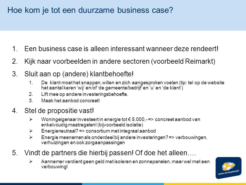 1.Een business case is alleen interessant wanneer deze rendeert.