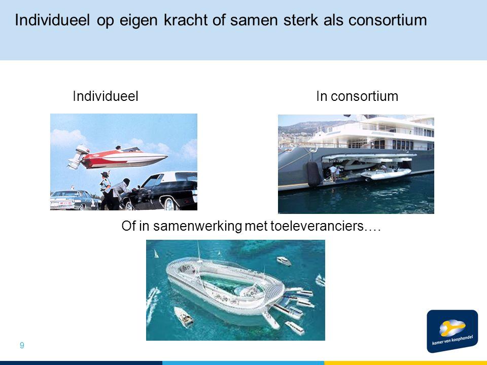 Individueel op eigen kracht of samen sterk als consortium IndividueelIn consortium Of in samenwerking met toeleveranciers….