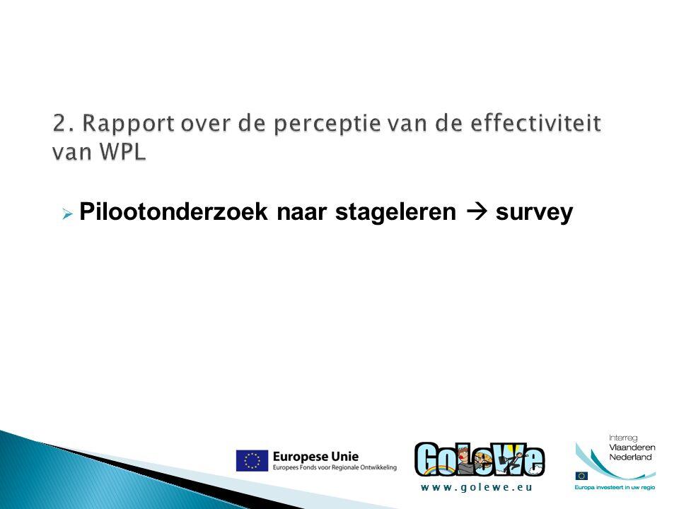 www.golewe.eu  Pilootonderzoek naar stageleren  survey