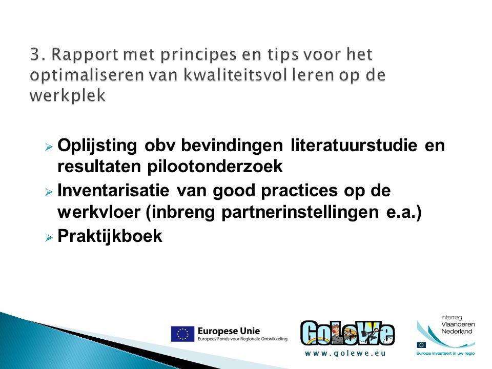 www.golewe.eu  Oplijsting obv bevindingen literatuurstudie en resultaten pilootonderzoek  Inventarisatie van good practices op de werkvloer (inbreng