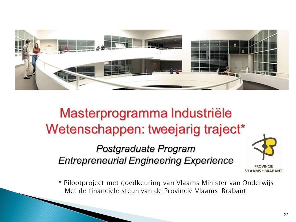 ** Masterprogramma Industriële Wetenschappen: tweejarig traject* Postgraduate Program Entrepreneurial Engineering Experience 22 * Pilootproject met