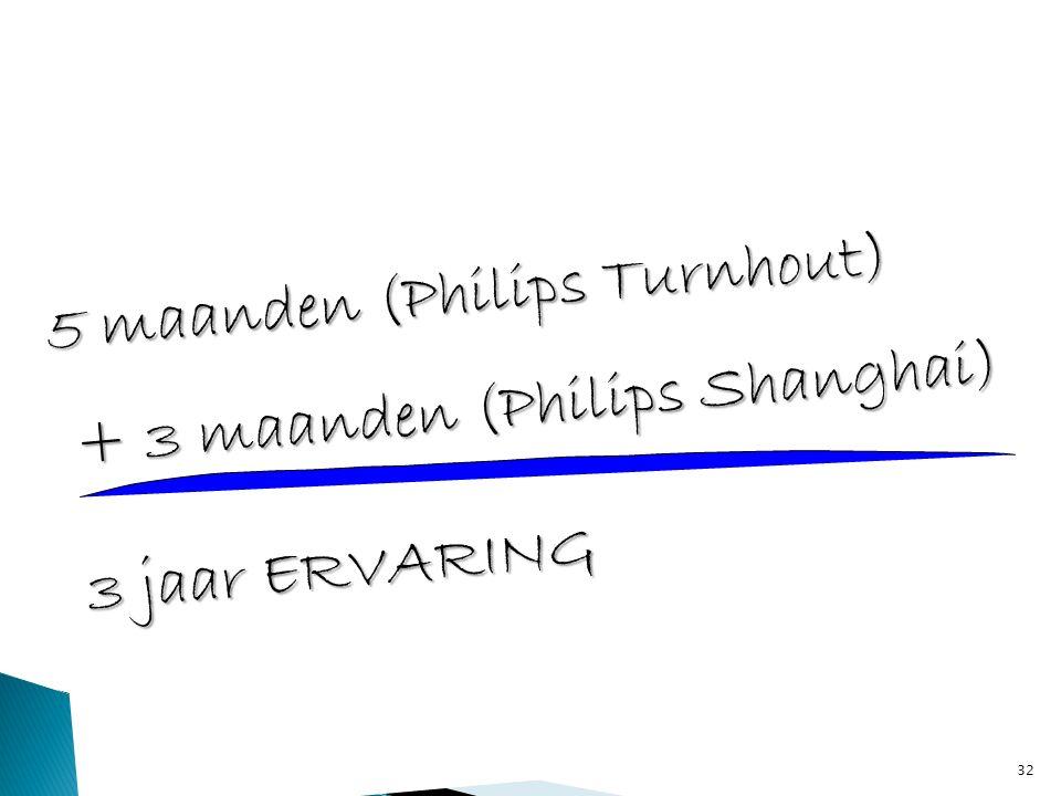 32 5 maanden (Philips Turnhout) + 3 maanden (Philips Shanghai) + 3 maanden (Philips Shanghai) 3 jaar ERVARING 3 jaar ERVARING
