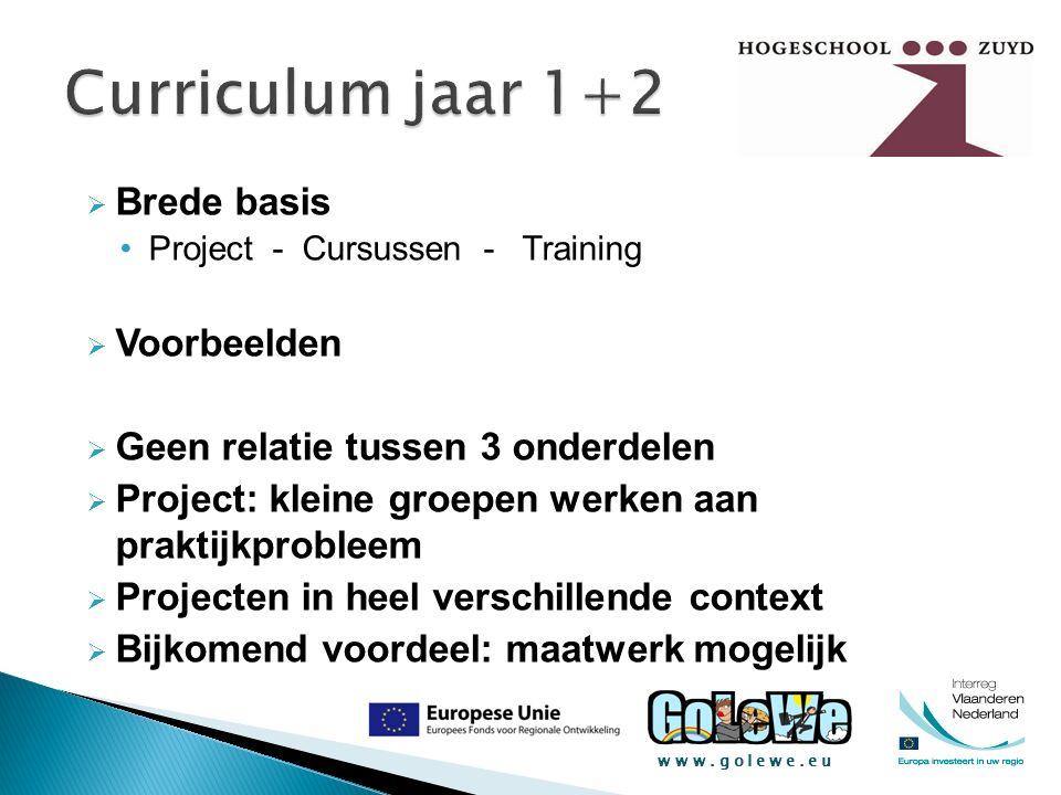 www.golewe.eu  Brede basis Project - Cursussen - Training  Voorbeelden  Geen relatie tussen 3 onderdelen  Project: kleine groepen werken aan prakt