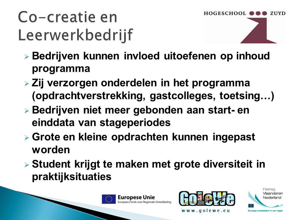 www.golewe.eu  Bedrijven kunnen invloed uitoefenen op inhoud programma  Zij verzorgen onderdelen in het programma (opdrachtverstrekking, gastcollege