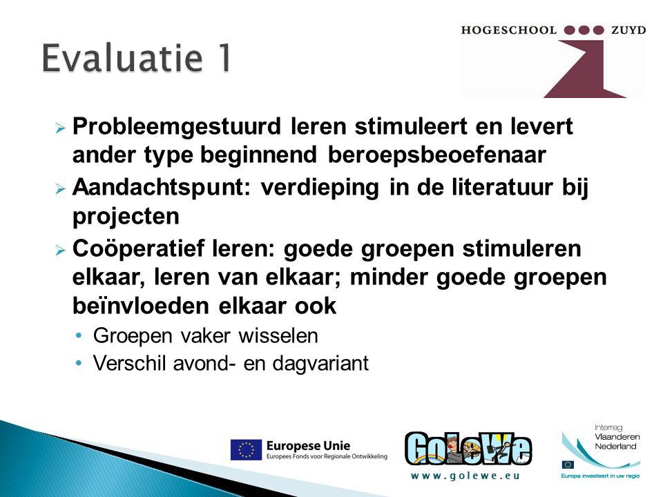 www.golewe.eu  Probleemgestuurd leren stimuleert en levert ander type beginnend beroepsbeoefenaar  Aandachtspunt: verdieping in de literatuur bij pr