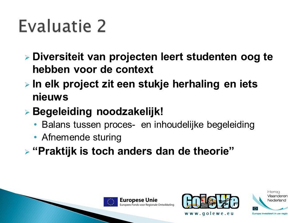 www.golewe.eu  Diversiteit van projecten leert studenten oog te hebben voor de context  In elk project zit een stukje herhaling en iets nieuws  Beg