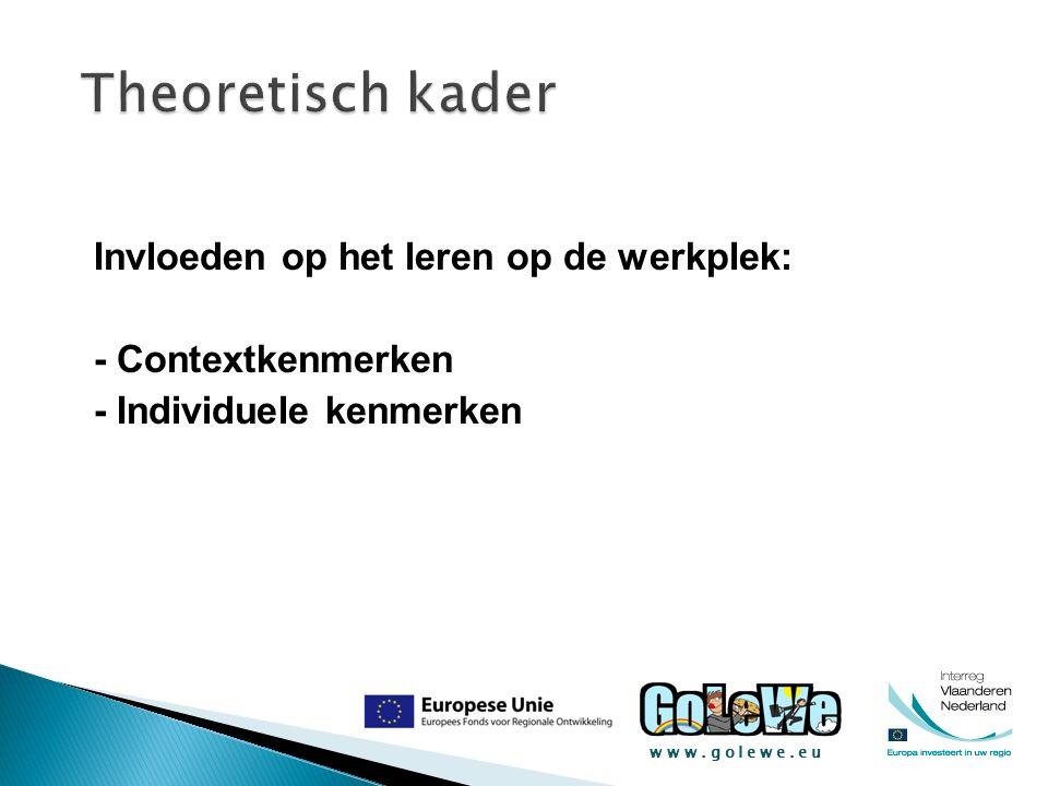 www.golewe.eu Invloeden op het leren op de werkplek: - Contextkenmerken - Individuele kenmerken