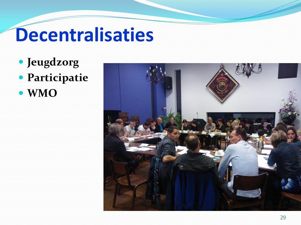 Decentralisaties Jeugdzorg Participatie WMO 29