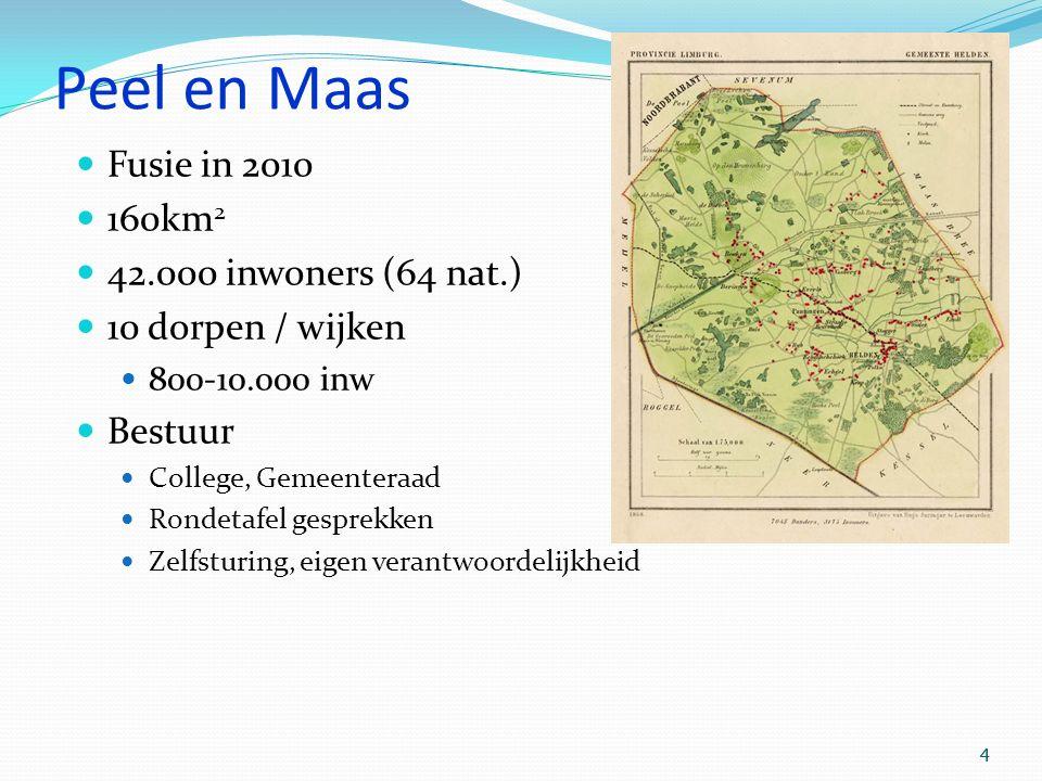 4 4 Peel en Maas Fusie in 2010 160km 2 42.000 inwoners (64 nat.) 10 dorpen / wijken 800-10.000 inw Bestuur College, Gemeenteraad Rondetafel gesprekken Zelfsturing, eigen verantwoordelijkheid