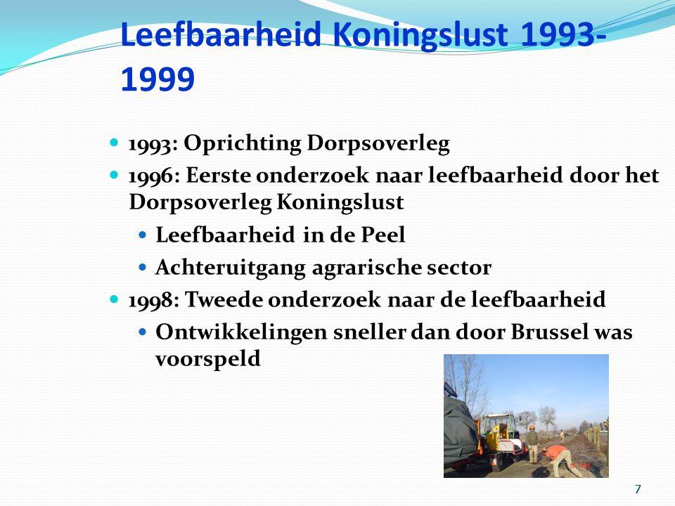 7 777 Leefbaarheid Koningslust 1993- 1999 1993: Oprichting Dorpsoverleg 1996: Eerste onderzoek naar leefbaarheid door het Dorpsoverleg Koningslust Leefbaarheid in de Peel Achteruitgang agrarische sector 1998: Tweede onderzoek naar de leefbaarheid Ontwikkelingen sneller dan door Brussel was voorspeld