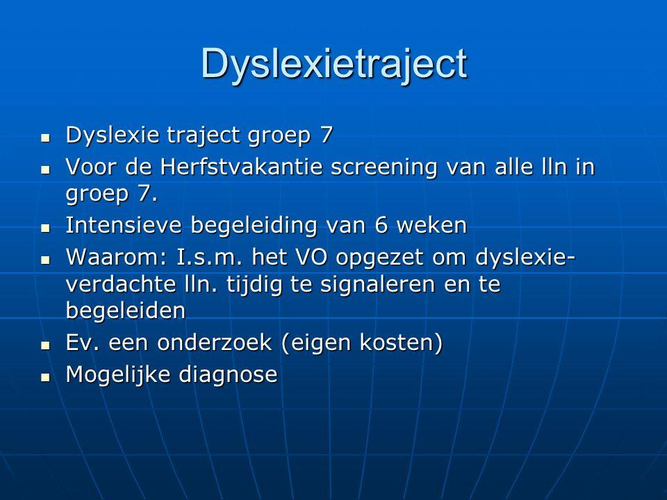 Dyslexietraject Dyslexie traject groep 7 Dyslexie traject groep 7 Voor de Herfstvakantie screening van alle lln in groep 7.