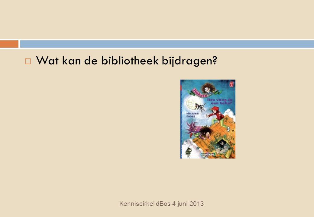  Wat kan de bibliotheek bijdragen Kenniscirkel dBos 4 juni 2013