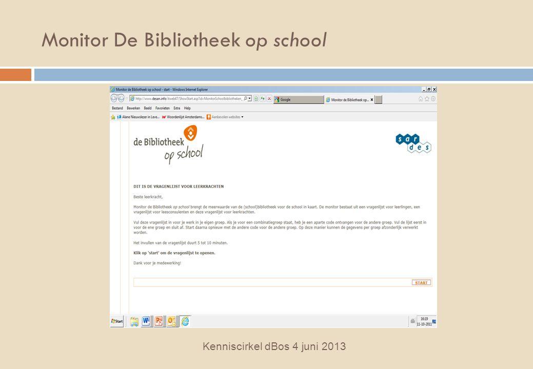 Monitor De Bibliotheek op school Kenniscirkel dBos 4 juni 2013