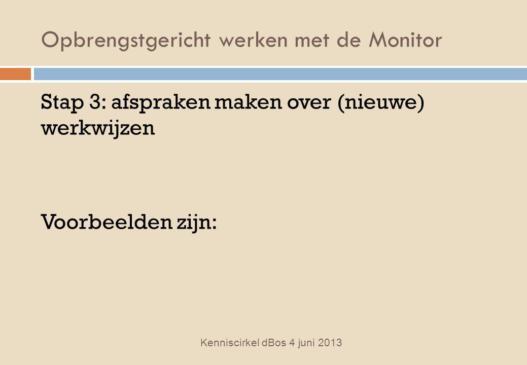 Opbrengstgericht werken met de Monitor Stap 3: afspraken maken over (nieuwe) werkwijzen Voorbeelden zijn: Kenniscirkel dBos 4 juni 2013