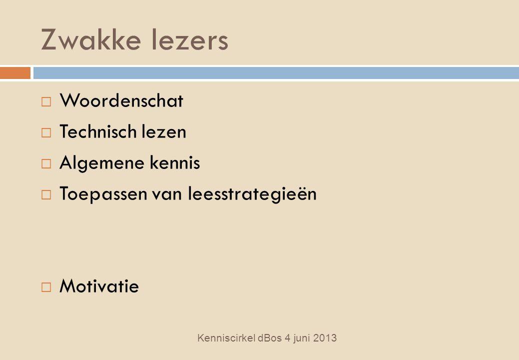 Zwakke lezers  Woordenschat  Technisch lezen  Algemene kennis  Toepassen van leesstrategieën  Motivatie Kenniscirkel dBos 4 juni 2013