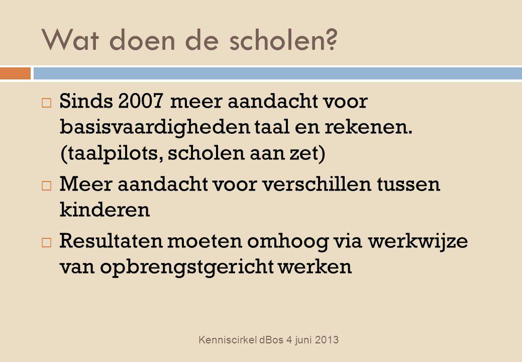 Wat doen de scholen.  Sinds 2007 meer aandacht voor basisvaardigheden taal en rekenen.