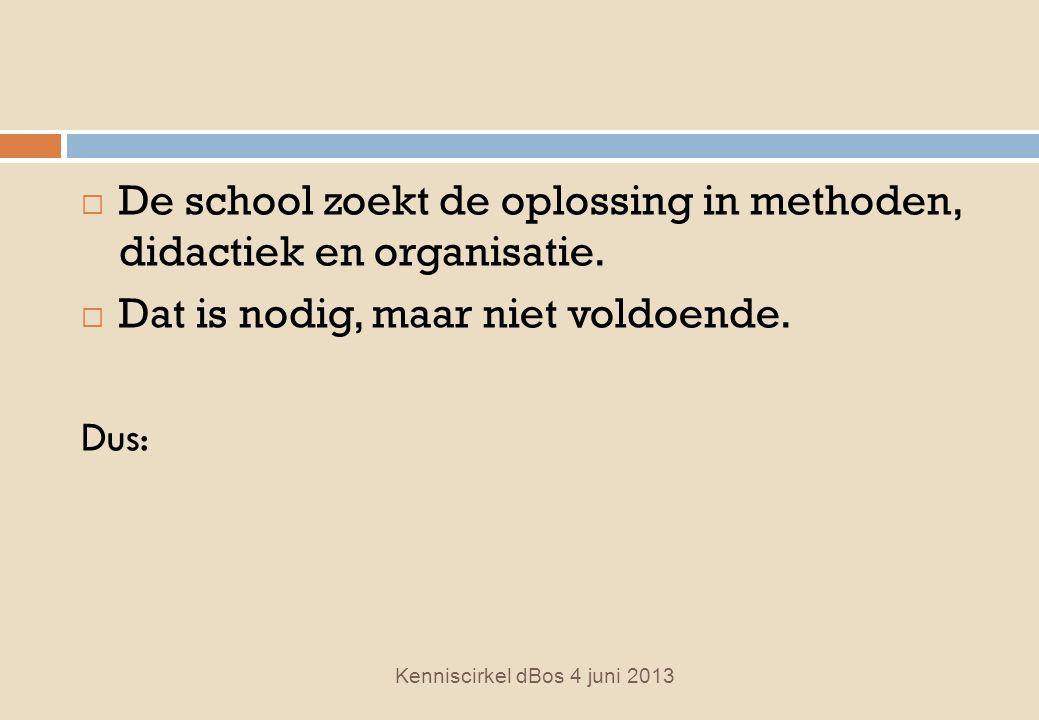  De school zoekt de oplossing in methoden, didactiek en organisatie.