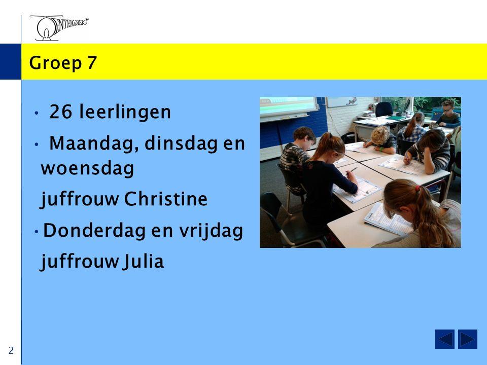 2 Groep 7 26 leerlingen Maandag, dinsdag en woensdag juffrouw Christine Donderdag en vrijdag juffrouw Julia