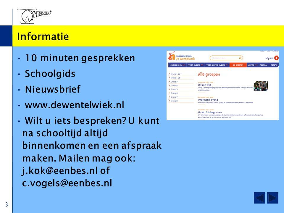 Informatie 10 minuten gesprekken Schoolgids Nieuwsbrief www.dewentelwiek.nl Wilt u iets bespreken? U kunt na schooltijd altijd binnenkomen en een afsp