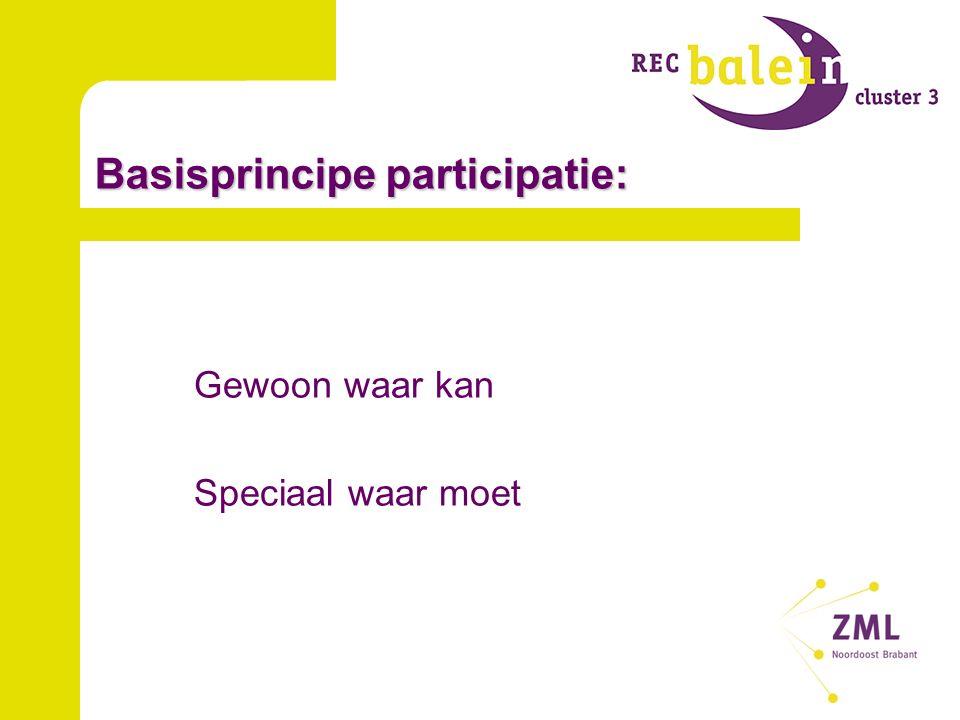 Basisprincipe participatie: Gewoon waar kan Speciaal waar moet