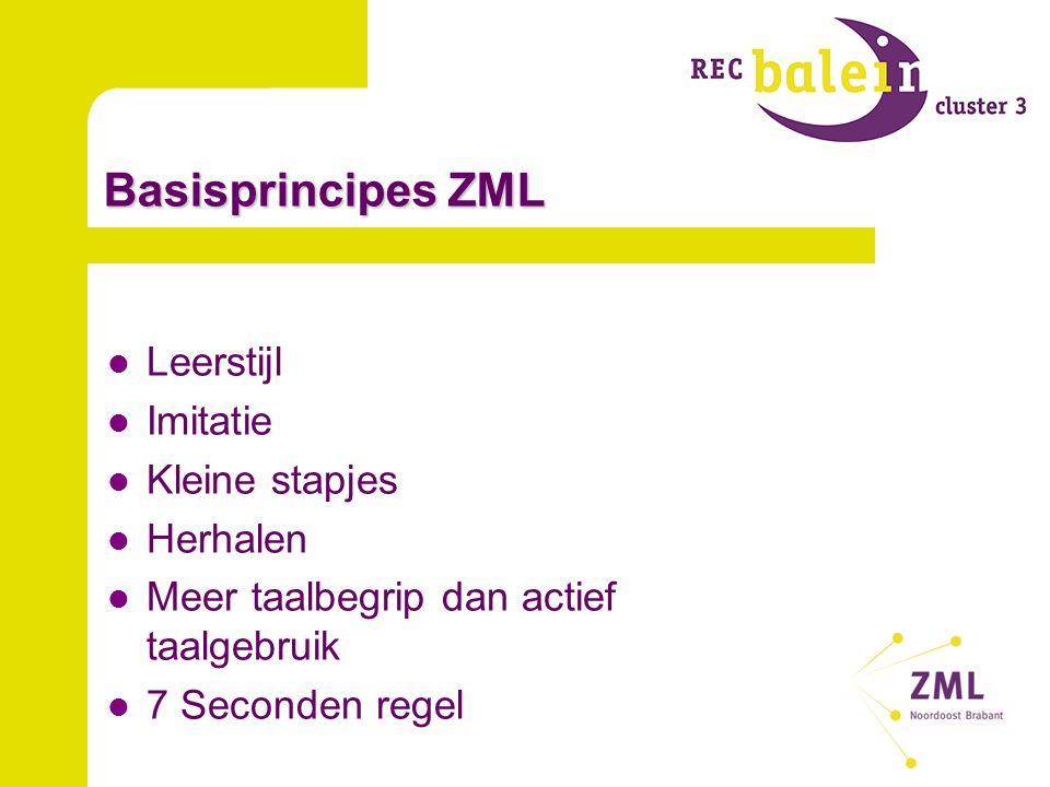 Basisprincipes ZML Leerstijl Imitatie Kleine stapjes Herhalen Meer taalbegrip dan actief taalgebruik 7 Seconden regel