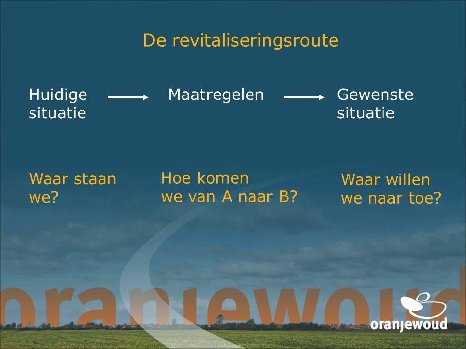 De revitaliseringsroute Huidige situatie Gewenste situatie Maatregelen Waar staan we? Waar willen we naar toe? Hoe komen we van A naar B?