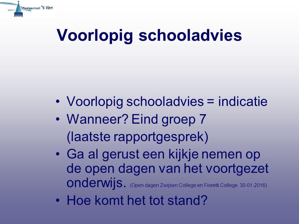 Voorlopig schooladvies Voorlopig schooladvies = indicatie Wanneer? Eind groep 7 (laatste rapportgesprek) Ga al gerust een kijkje nemen op de open dage