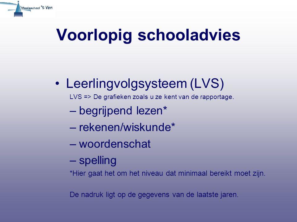 Voorlopig schooladvies Leerlingvolgsysteem (LVS) LVS => De grafieken zoals u ze kent van de rapportage. –begrijpend lezen* –rekenen/wiskunde* –woorden