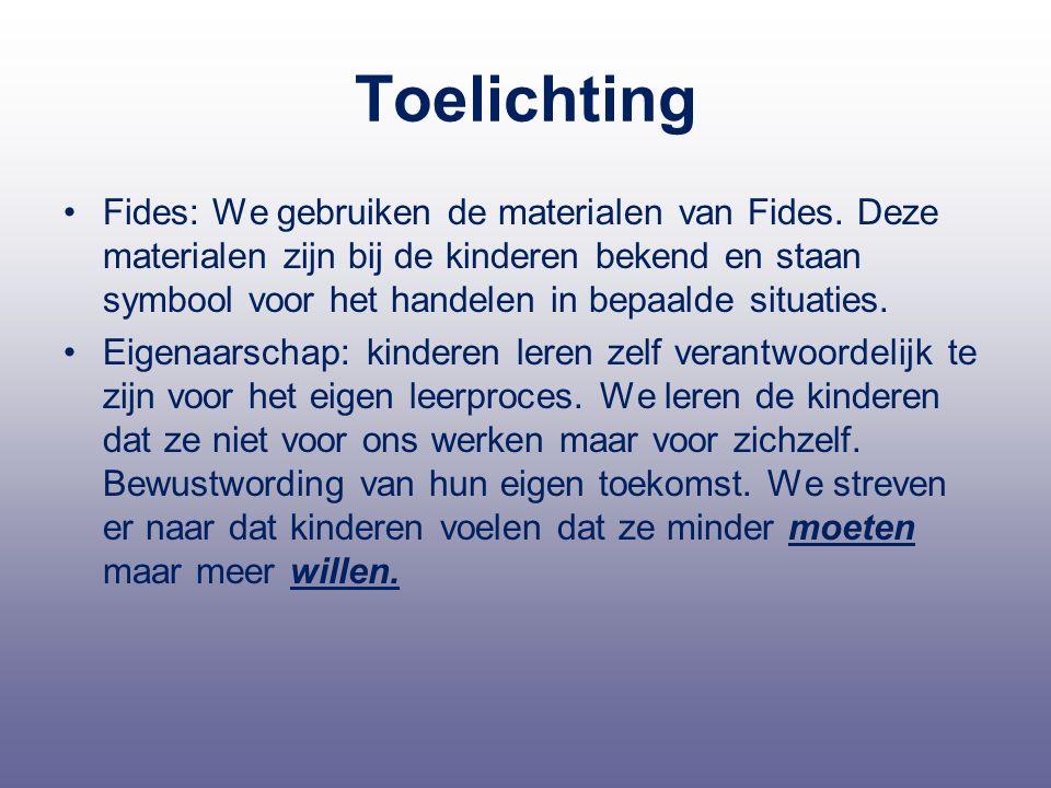 Toelichting Fides: We gebruiken de materialen van Fides. Deze materialen zijn bij de kinderen bekend en staan symbool voor het handelen in bepaalde si