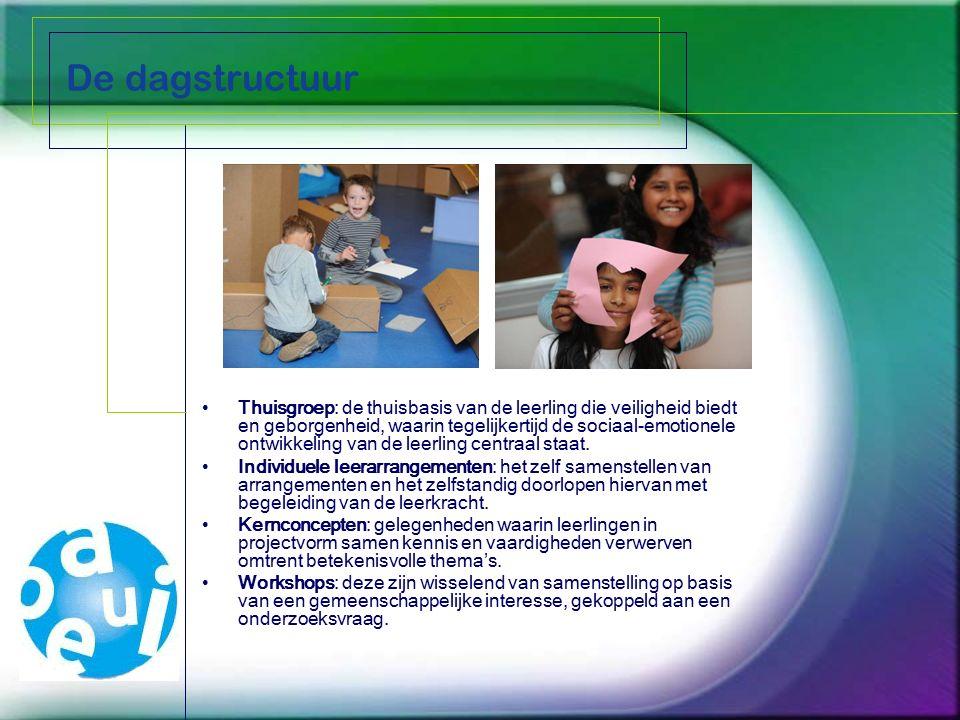 De dagstructuur Thuisgroep: de thuisbasis van de leerling die veiligheid biedt en geborgenheid, waarin tegelijkertijd de sociaal-emotionele ontwikkeling van de leerling centraal staat.