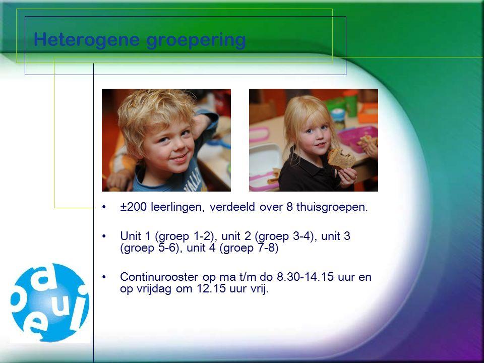 Heterogene groepering ±200 leerlingen, verdeeld over 8 thuisgroepen. Unit 1 (groep 1-2), unit 2 (groep 3-4), unit 3 (groep 5-6), unit 4 (groep 7-8) Co