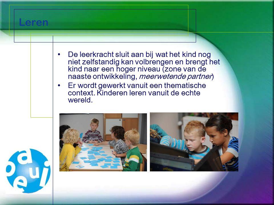 Leren De leerkracht sluit aan bij wat het kind nog niet zelfstandig kan volbrengen en brengt het kind naar een hoger niveau (zone van de naaste ontwikkeling, meerwetende partner) Er wordt gewerkt vanuit een thematische context.