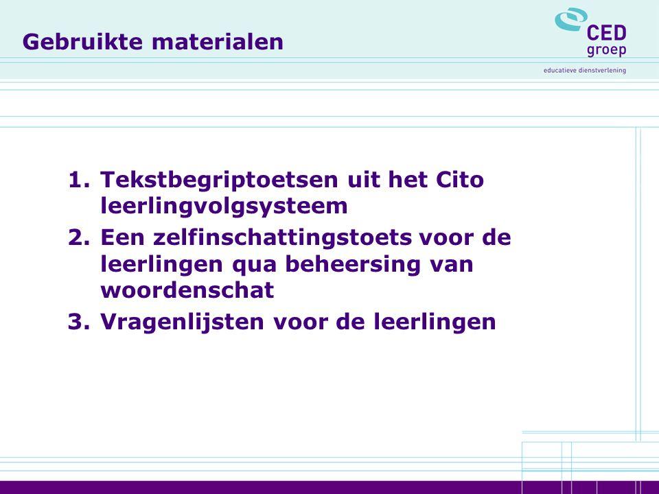 Uitkomsten van het onderzoek 1.Rotterdamse leerlingen scoren met name in 4 vwo sterk lager dan het landelijk gemiddelde op tekstbegrip 2.Grote verschillen tussen de leerlingen en tussen scholen op het gebied van beheersing van woordenschat 3.Positieve correlatie tussen woordenschat en tekstbegrip