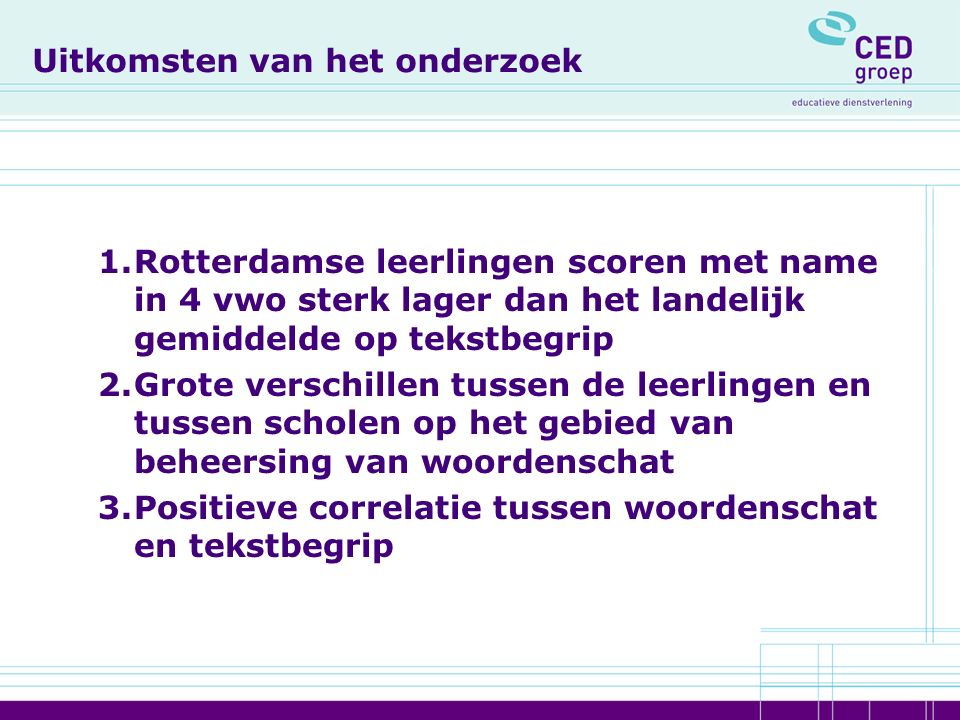 Ontwikkeling van Tekstenweb 1.Een web-based programma (www.tekstenweb.nl)www.tekstenweb.nl 2.Gericht op zowel de verbetering van de leesvaardigheid als de uitbreiding van de woordenschat 3.Met 100 teksten, voornamelijk geselecteerd uit landelijke dagbladen en van websites