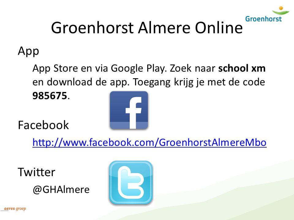 Groenhorst Almere Online App App Store en via Google Play. Zoek naar school xm en download de app. Toegang krijg je met de code 985675. Facebook http: