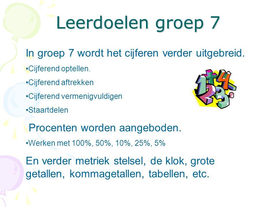Leerdoelen groep 7 In groep 7 wordt het cijferen verder uitgebreid.
