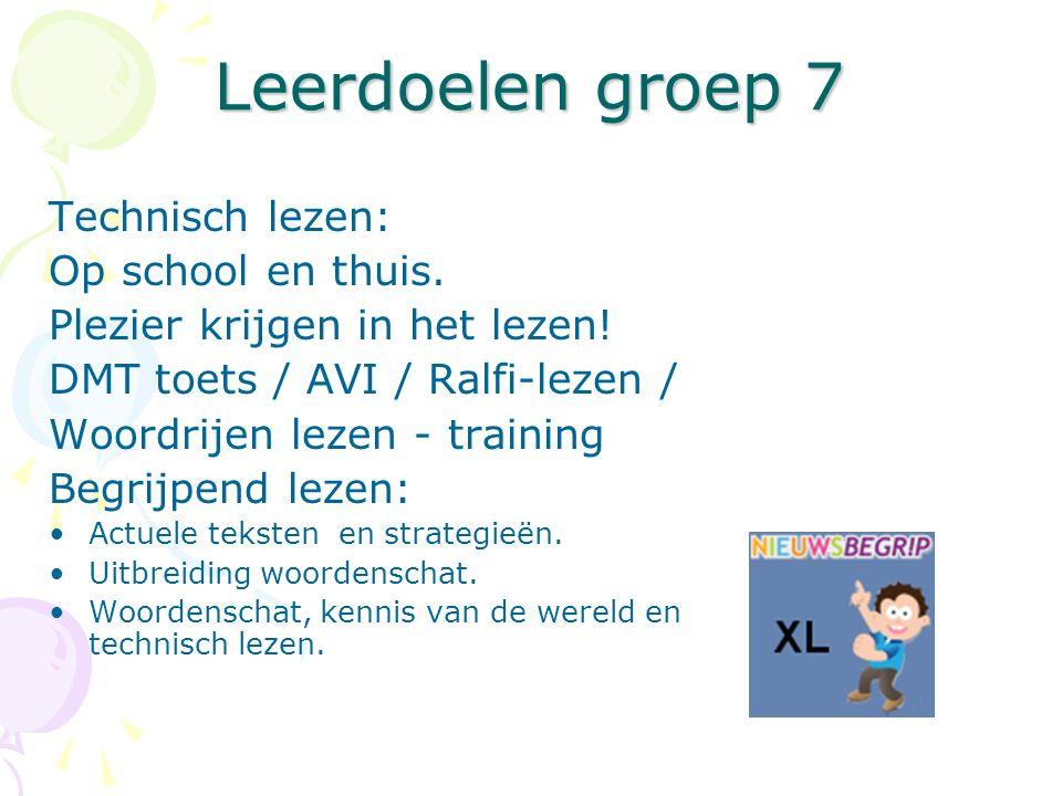 Leerdoelen groep 7 Technisch lezen: Op school en thuis.
