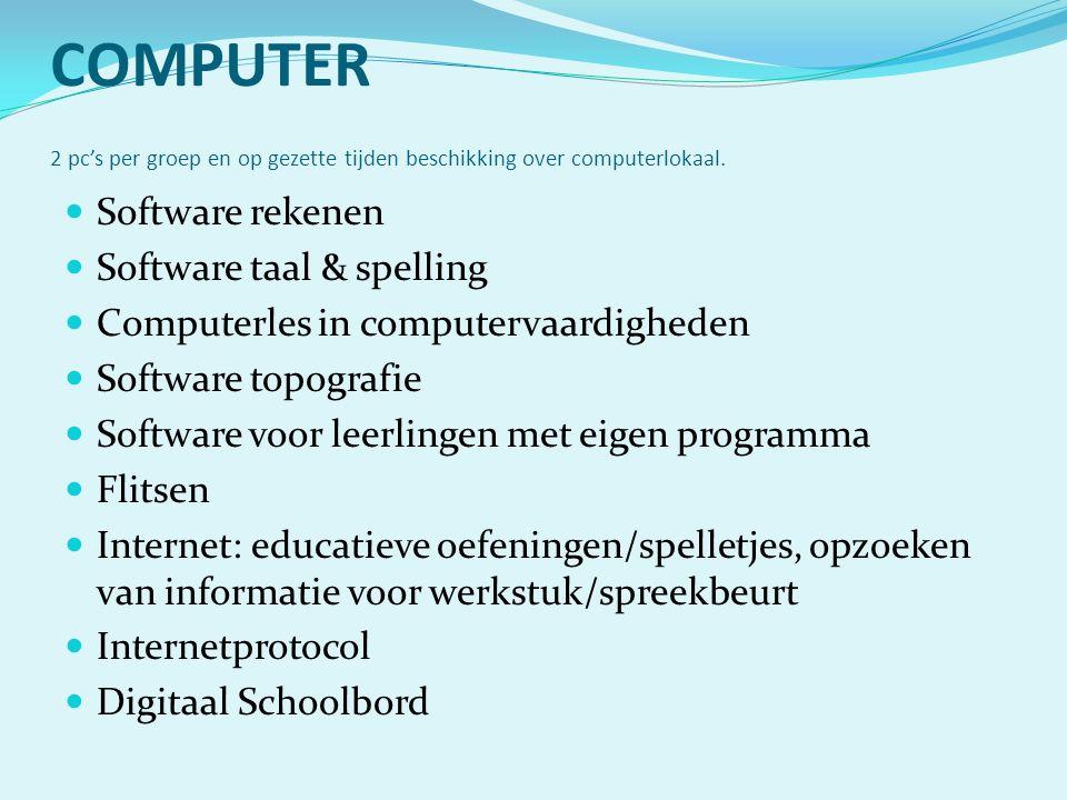 COMPUTER 2 pc's per groep en op gezette tijden beschikking over computerlokaal. Software rekenen Software taal & spelling Computerles in computervaard