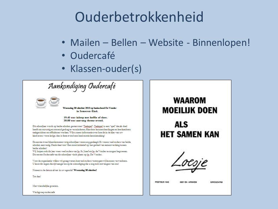 Ouderbetrokkenheid Mailen – Bellen – Website - Binnenlopen! Oudercafé Klassen-ouder(s)