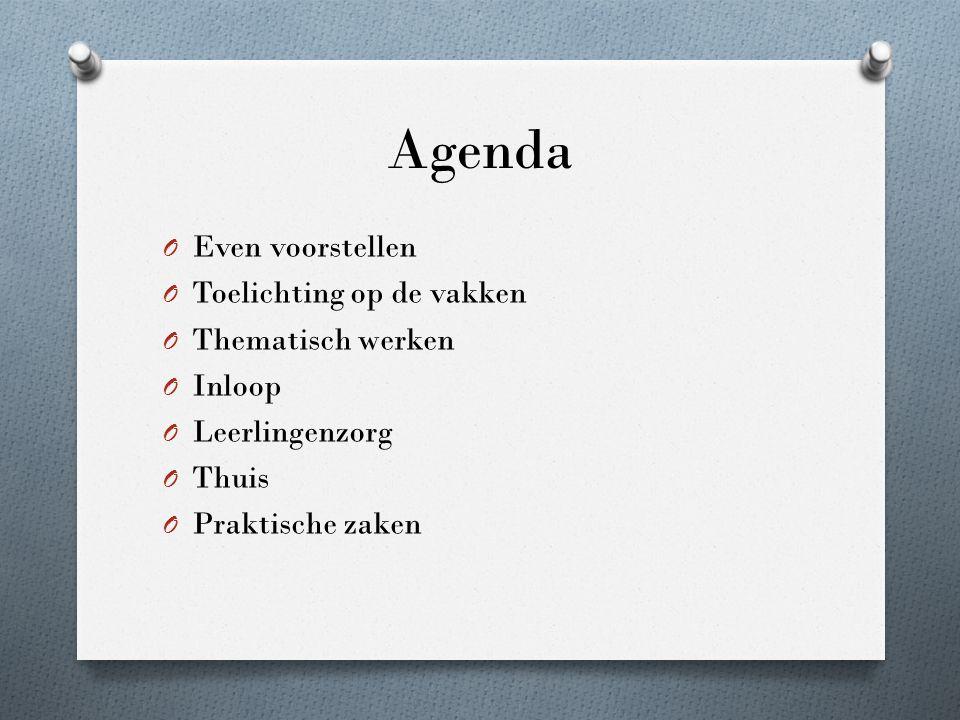 Agenda O Even voorstellen O Toelichting op de vakken O Thematisch werken O Inloop O Leerlingenzorg O Thuis O Praktische zaken