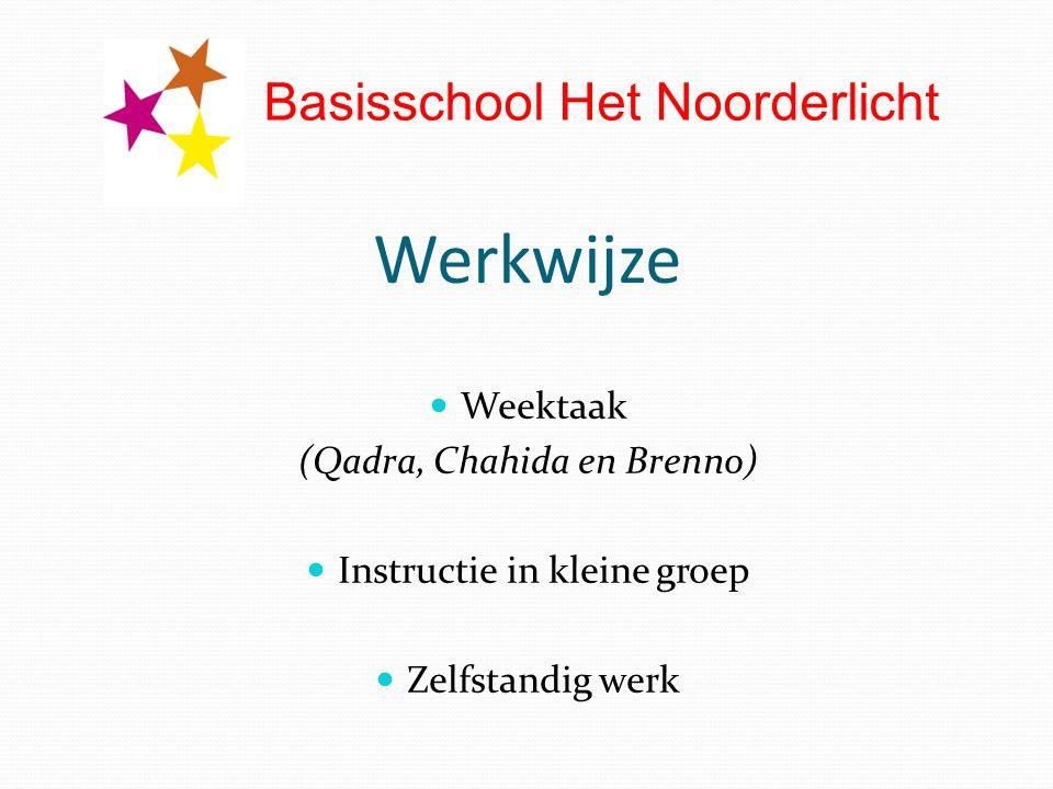 Werkwijze Weektaak (Qadra, Chahida en Brenno) Instructie in kleine groep Zelfstandig werk Basisschool Het Noorderlicht