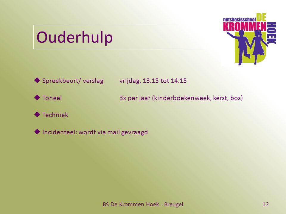 BS De Krommen Hoek - Breugel12 Ouderhulp  Spreekbeurt/ verslag vrijdag, 13.15 tot 14.15  Toneel 3x per jaar (kinderboekenweek, kerst, bos)  Techniek  Incidenteel: wordt via mail gevraagd