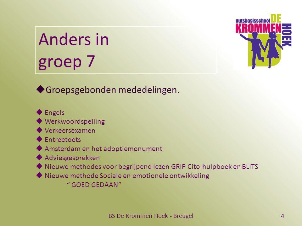 BS De Krommen Hoek - Breugel4 Anders in groep 7  Groepsgebonden mededelingen.