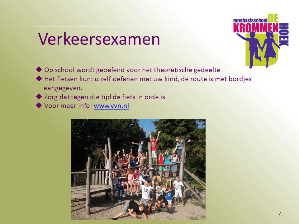 BS De Krommen Hoek - Breugel7 Verkeersexamen  Op school wordt geoefend voor het theoretische gedeelte  Het fietsen kunt u zelf oefenen met uw kind, de route is met bordjes aangegeven.