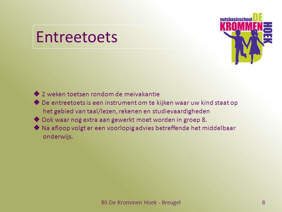 BS De Krommen Hoek - Breugel8 Entreetoets  2 weken toetsen rondom de meivakantie  De entreetoets is een instrument om te kijken waar uw kind staat op het gebied van taal/lezen, rekenen en studievaardigheden  Ook waar nog extra aan gewerkt moet worden in groep 8.