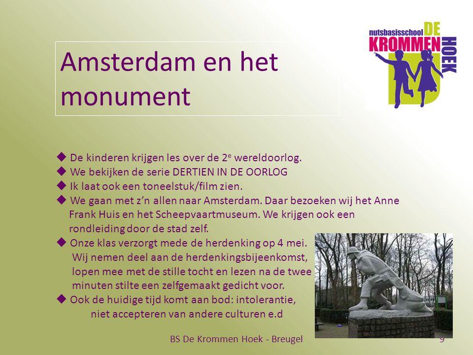 BS De Krommen Hoek - Breugel9 Amsterdam en het monument  De kinderen krijgen les over de 2 e wereldoorlog.